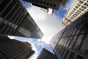towering office buildings