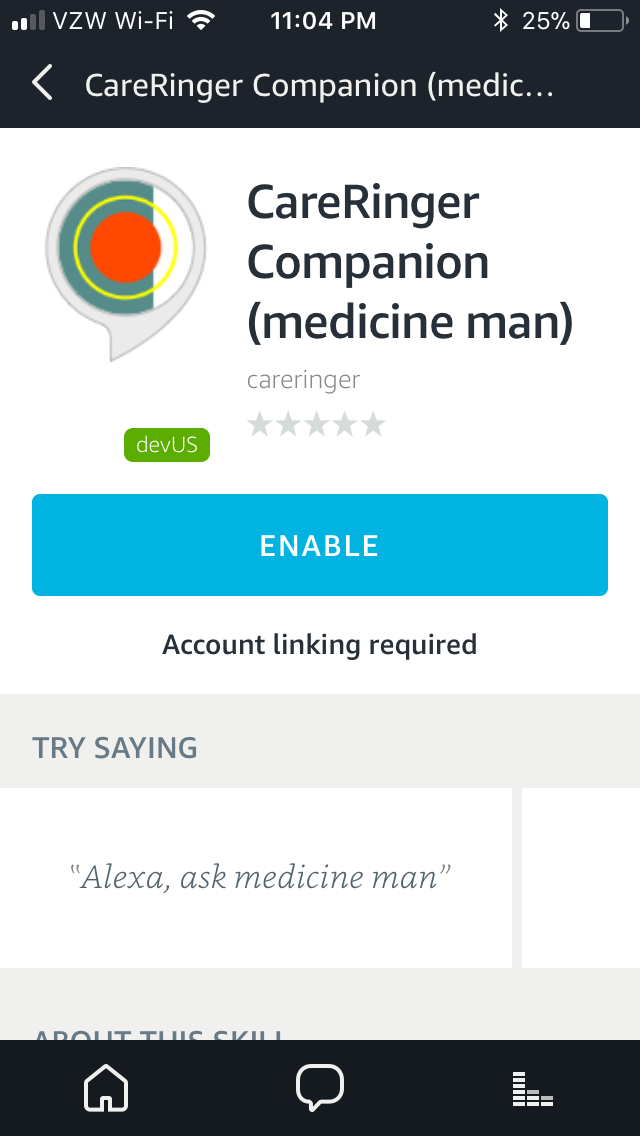 Screenshot of Alexa Skill: medicine man