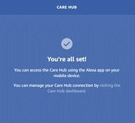 Care Hub set-up confirmation